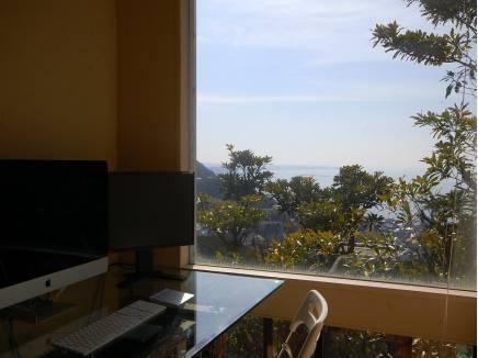 書斎から眺める海は穏やかで美しいです。