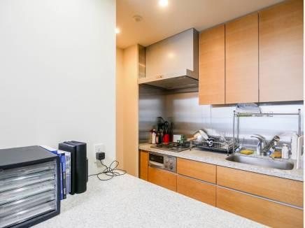 キッチンにはカウンターがあり、広々した雰囲気