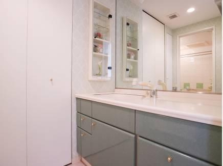 広い洗面台は忙しい朝の支度もゆとりを持てそうです
