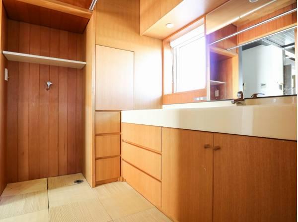 たっぷりの収納スペースを完備した洗面室