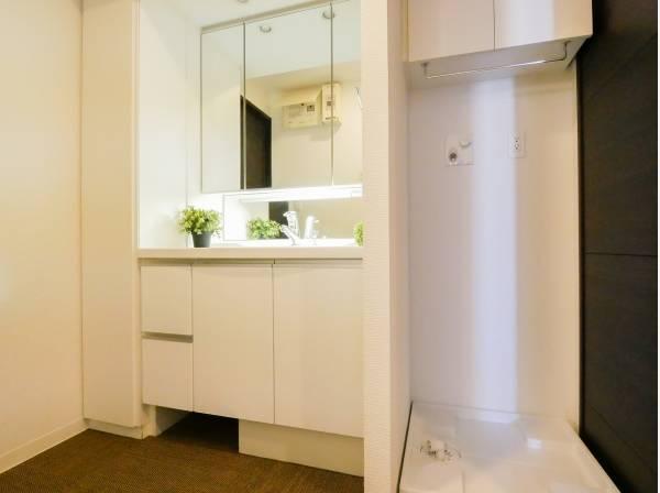 洗面室は収納豊富