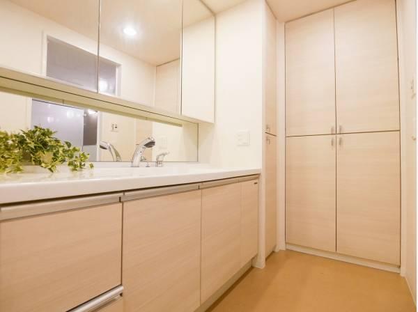 収納も豊富でスッキリとした印象の洗面室ですね。