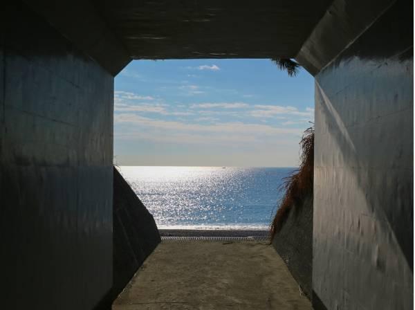地下道をくぐりぬけると日本の渚100選にも選ばれた「こゆるぎの浜」。毎日のお散歩コースにオススメの場所です。